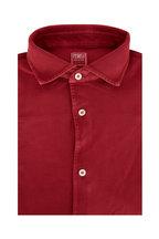 Fedeli - Burgundy Pique Sport Shirt