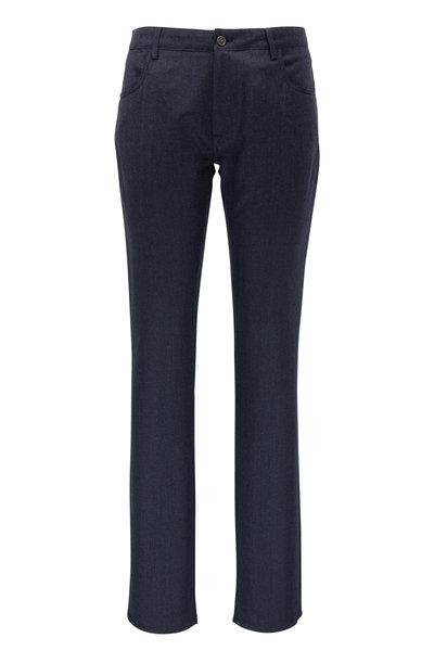 Canali - Navy Nailhead Brushed Wool Five Pocket Pant