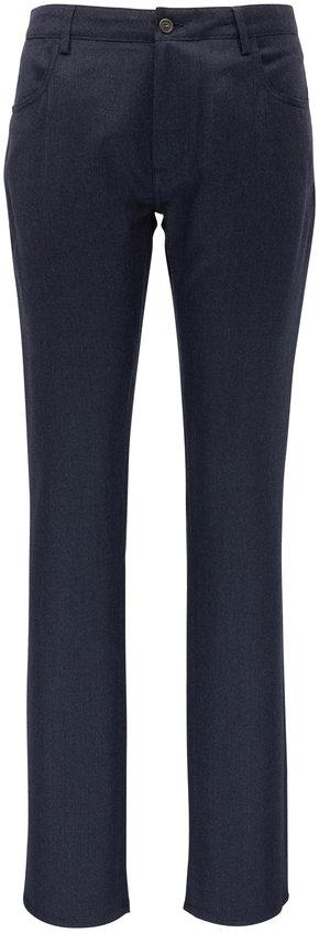 Canali Navy Nailhead Brushed Wool Five Pocket Pant