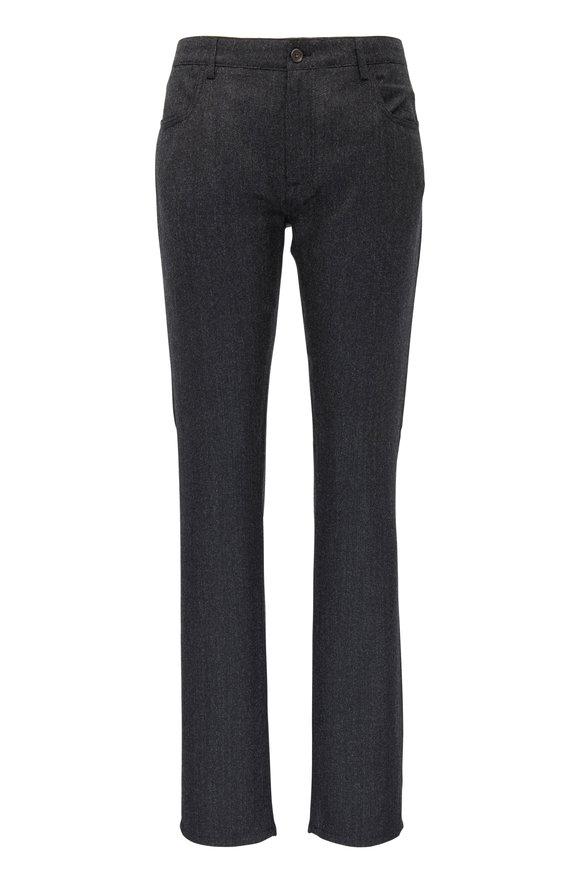 Canali Charcoal Nailhead Brushed Wool Five Pocket Pant
