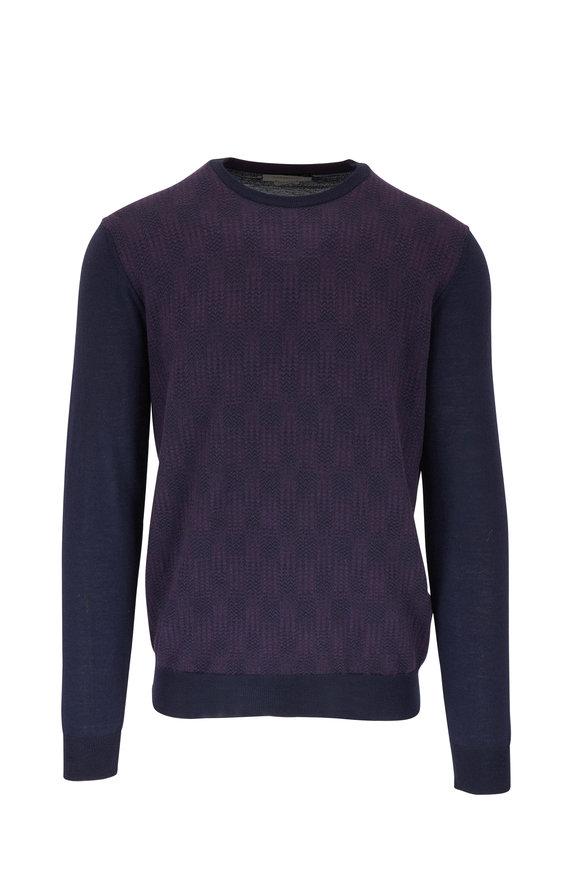 Corneliani Burgundy & Navy Wool Crewneck Pullover