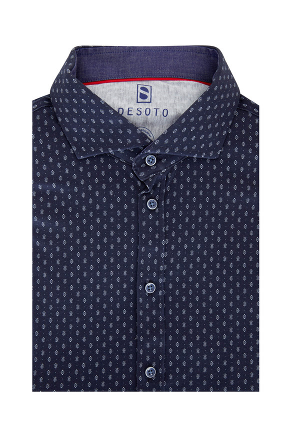 Desoto Navy Blue Geometric Printed Sport Shirt