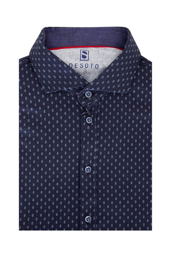 Desoto Navy Blue Geometric Printed Sport Shirt