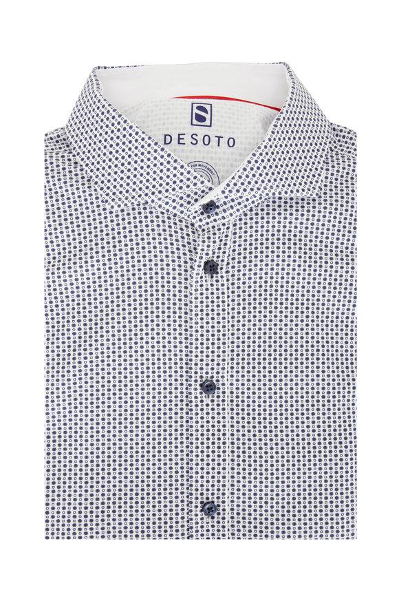 Desoto Navy Blue & White Geometric Printed Sport Shirt