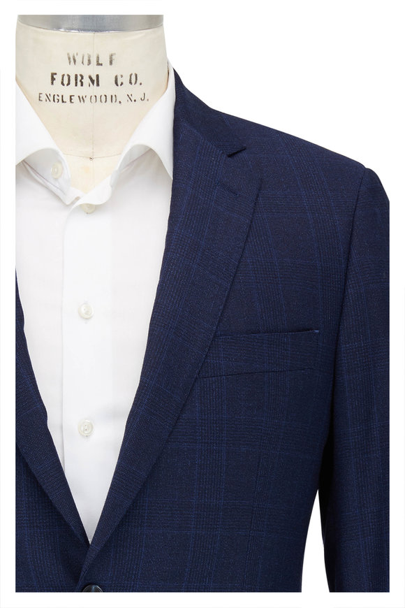 Atelier Munro Navy Blue Tonal Plaid Wool Suit