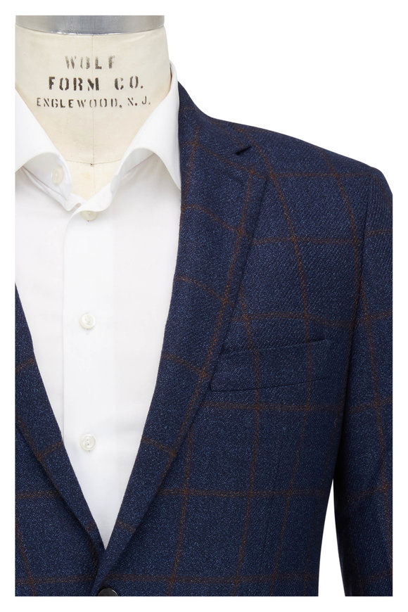 Atelier Munro Navy Blue & Brown Windowpane Sportcoat