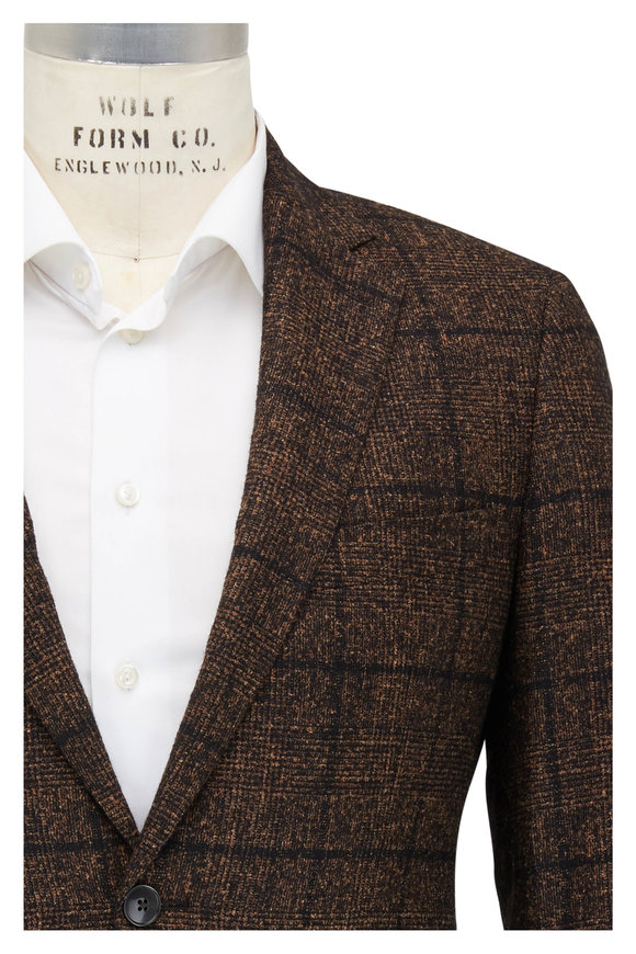 Atelier Munro Brown Textured Alpaca Blend Sport Coat