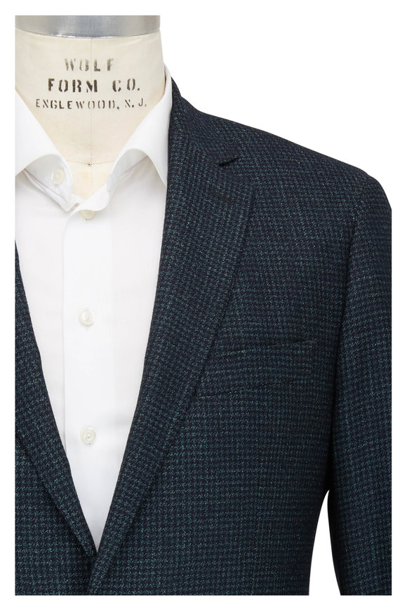 Atelier Munro Dark Green Houndstooth Wool Blend Sportcoat