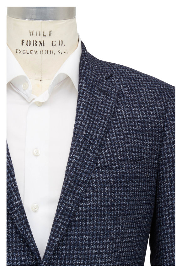 Atelier Munro Navy Blue Houndstooth Wool Blend Sportcoat