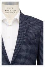 Atelier Munro - Navy Blue Houndstooth Wool Blend Sportcoat