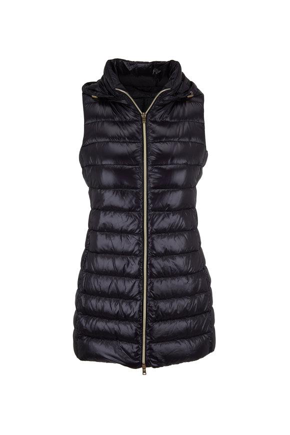 Herno Black Nylon Fitted Long Puffer Vest