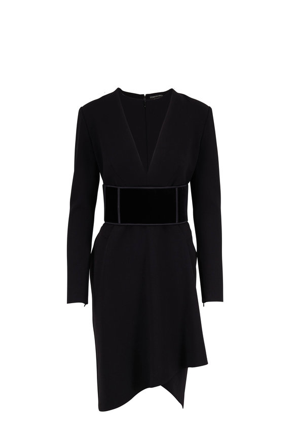 Tom Ford Black Wool Deep V-Neck Long Sleeve Dress