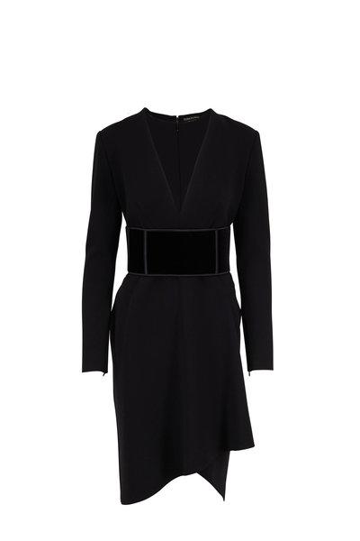 Tom Ford - Black Wool Deep V-Neck Long Sleeve Dress