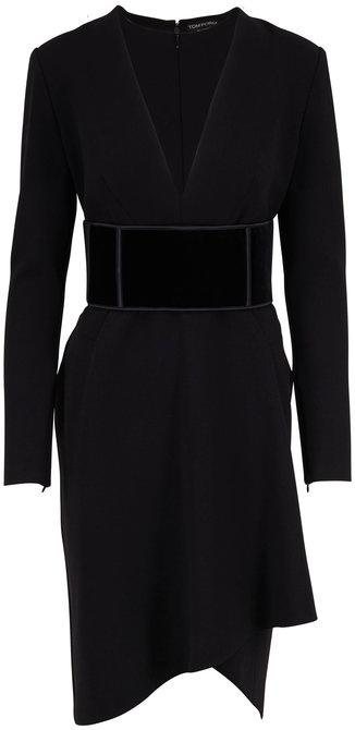 Tom Ford Black Wool Deep V-Neck Long Sleeve Dress