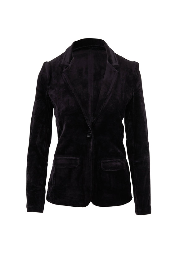 Majestic Black Velvet Single Button Blazer