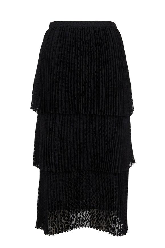 Akris Punto Black Signature Dot Pleated Side Zip Skirt