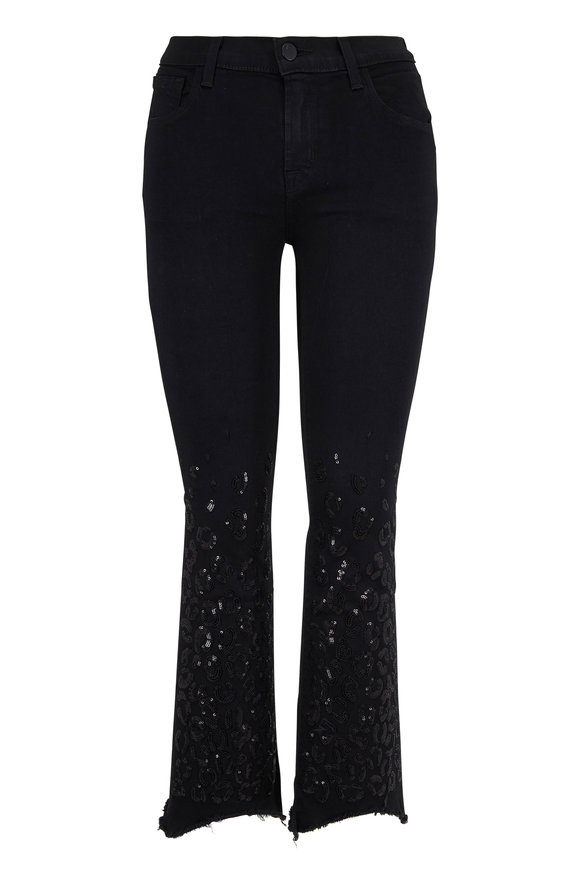 J Brand Selena Black Sequin Mid-Rise Crop Boot Jean
