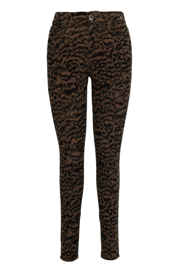 AG - Adriano Goldschmied Farrah Animal Print High-Rise Skinny Ankle Jean