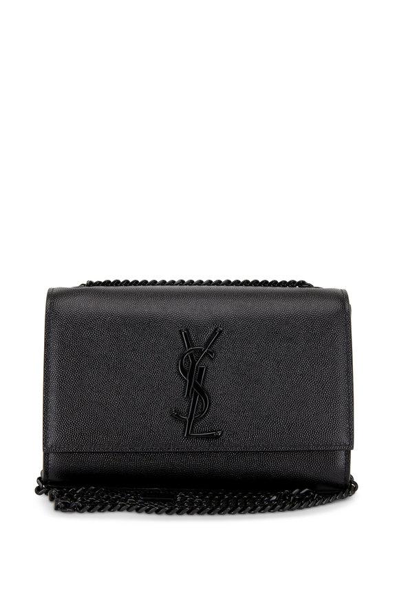 Saint Laurent Kate Monogram Black Grained Leather Chain Bag