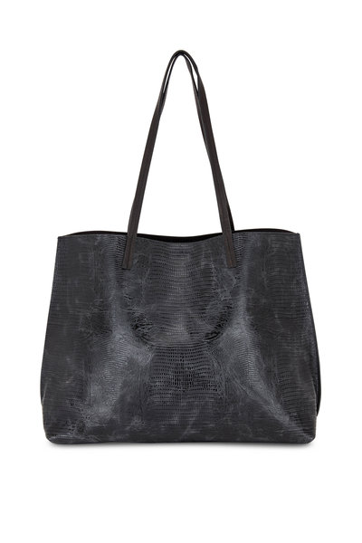 B May Bags - Black Lizard Embossed Leather Classic Shopper