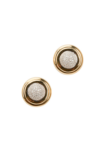 Syna - Yellow Gold White Diamond Round Earrings