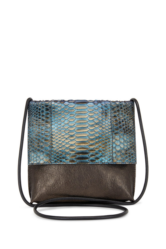 B May Bags Riviera Blue Metallic Leather & Python Crossbody