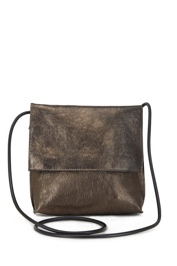 B May Bags Pyrite Metallic Leather Large Crossbody