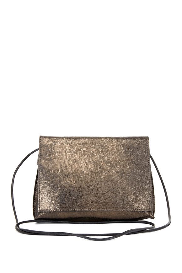 B May Bags Pyrite Metallic Leather Small Crossbody