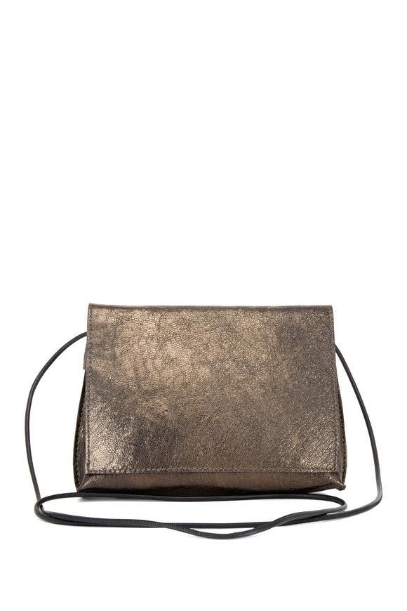 B May Bags Pyrite Metallic Leather Small Crossbody