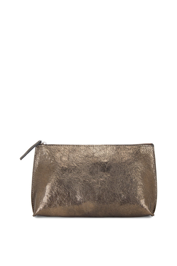 B May Bags Pyrite Metallic Leather Essential Zip Pouch