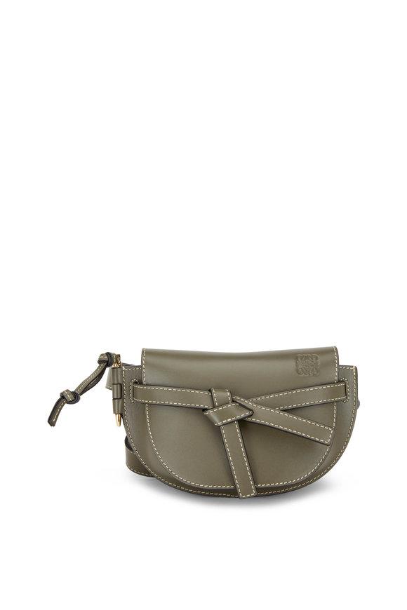 Loewe Mini Gate Khaki Green Leather Belt Bag
