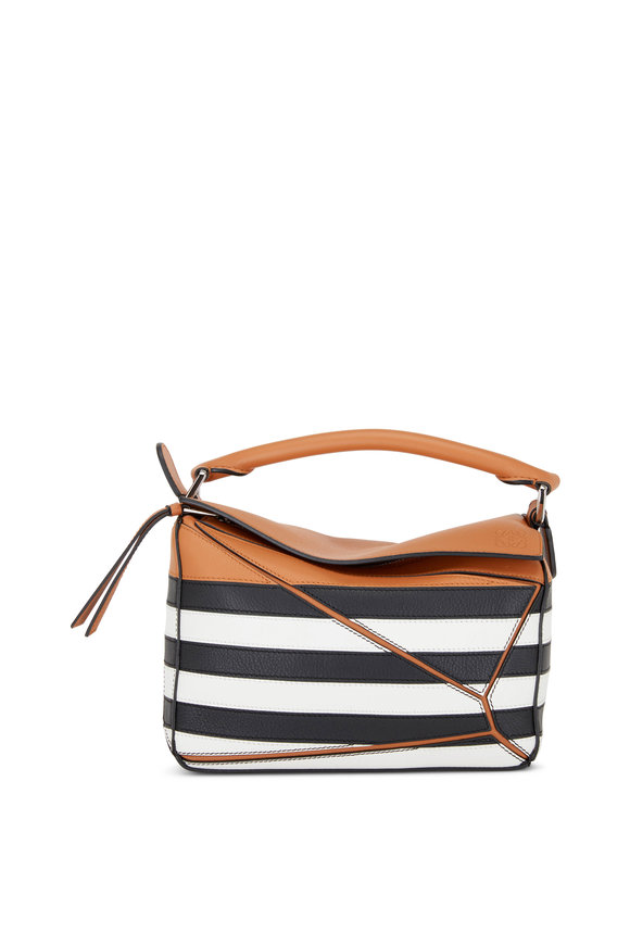 Loewe Small Puzzle Black & White Stripe Shoulder Bag