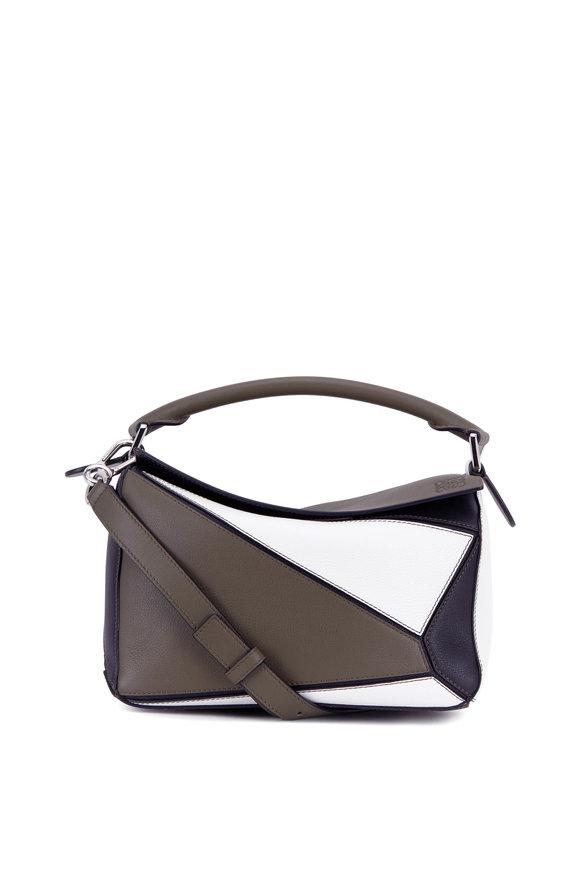 Loewe Small Puzzle Khaki & White Leather Shoulder Bag