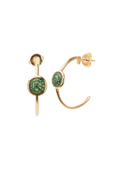Syna - Yellow Gold Tsavorite Chakra Hoop Earrings
