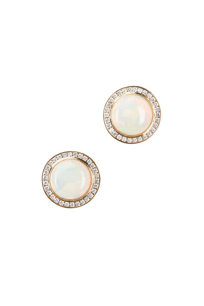 Syna - Maya Yellow Gold Opal Diamond Stud Earrings