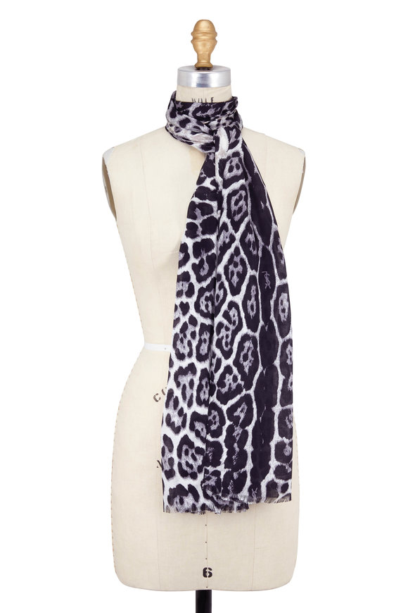Saint Laurent Graphite & Black Leopard Print Silk Scarf