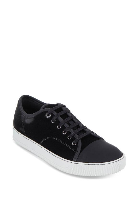 Lanvin Dark Charcoal Velvet & Leather Cap-Toe Sneaker
