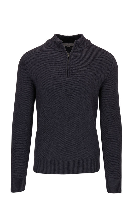 Canali Charcoal Quarter-Zip Textured Knit Wool Pullover