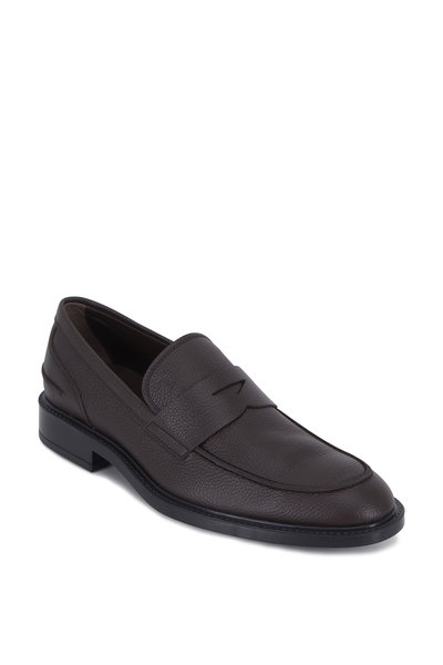 Tod's - Dark Brown Pebbled Leather Mocassino Loafer