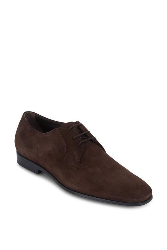 Tod's Gomma Dark Brown Suede Derby Shoe