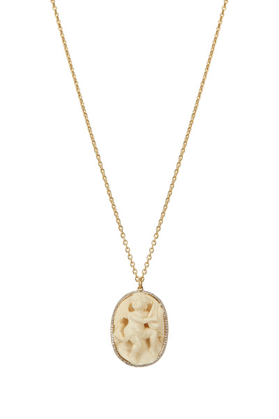 Syna - Yellow Gold Diamond Cupid Pendant Necklace