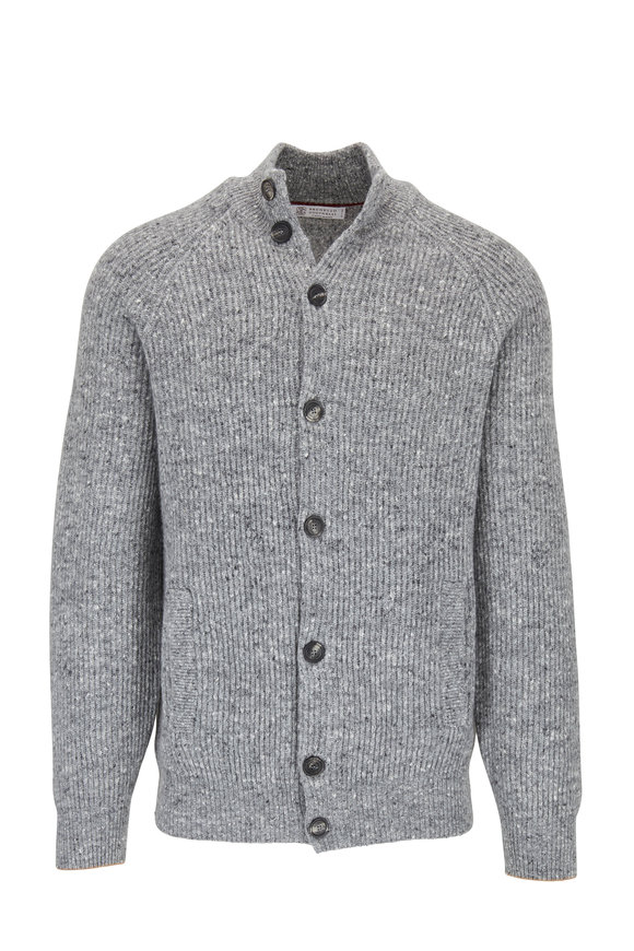 Brunello Cucinelli Gray Melange Front Button Wool & Cashmere Cardigan