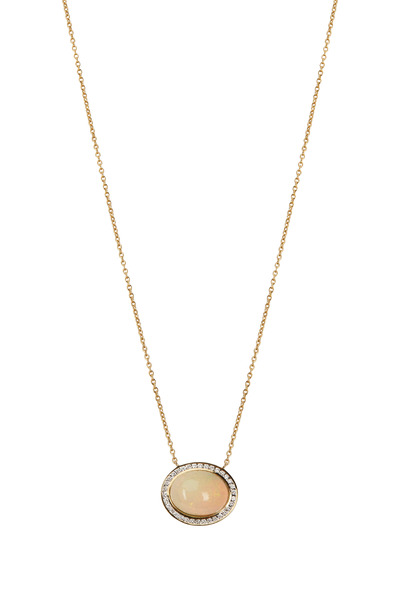 Syna - Yellow Gold Opal Diamond Necklace