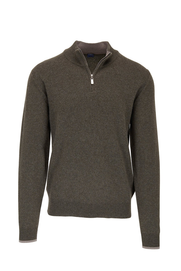 Fedeli Olive Waffle Knit Cashmere Quarter-Zip Pullover