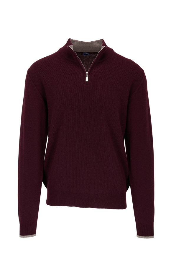 Fedeli Plum Waffle Knit Cashmere Quarter-Zip Pullover