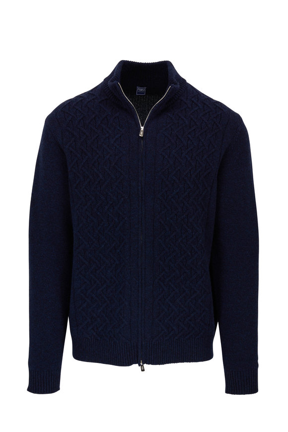 Fedeli Navy Cashmere Cable Knit Front Zip Sweater