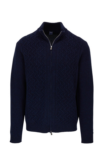 Fedeli - Navy Cashmere Cable Knit Front Zip Sweater