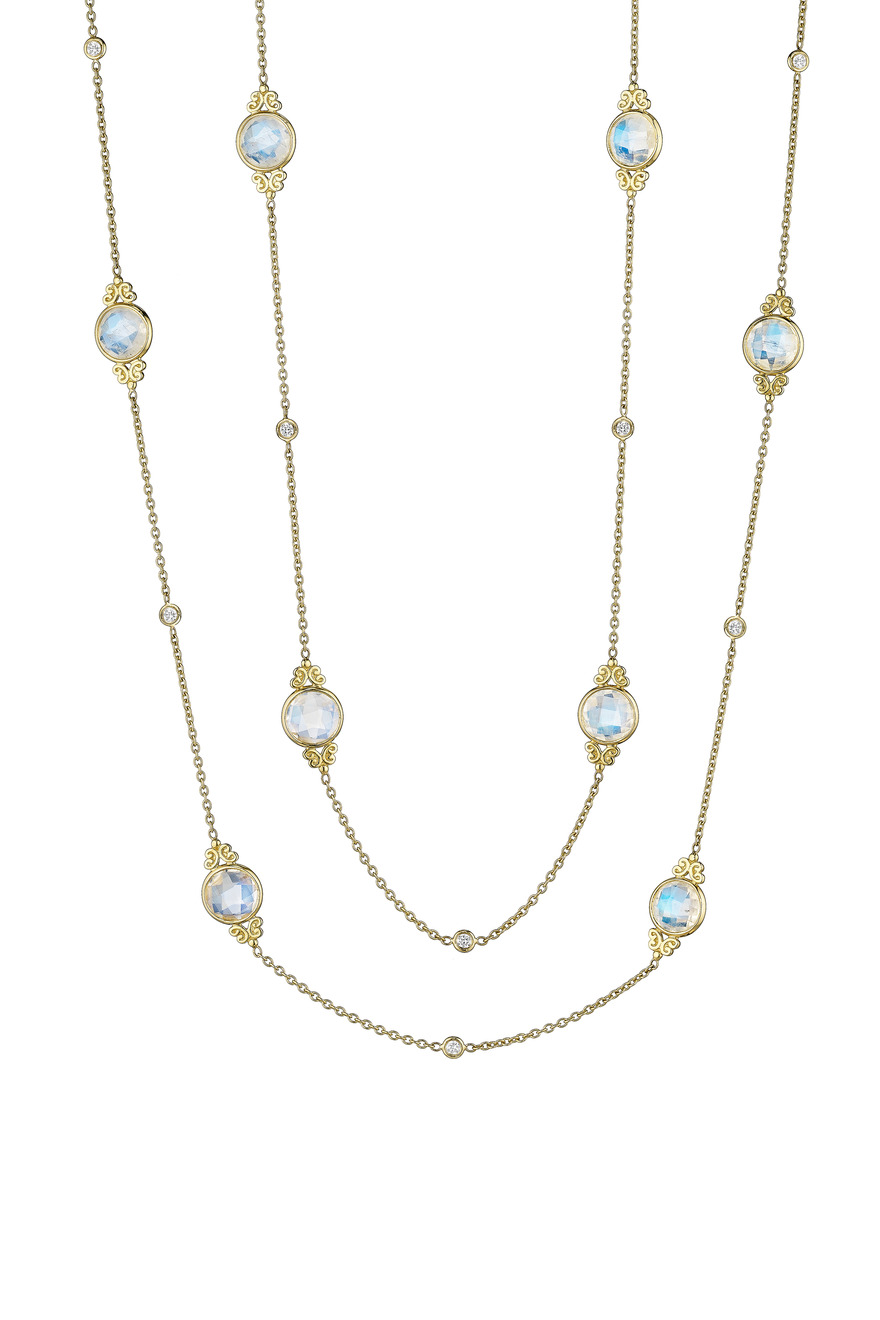 Rose Cut Blue Moonstone Diamond Eyeglass Chain