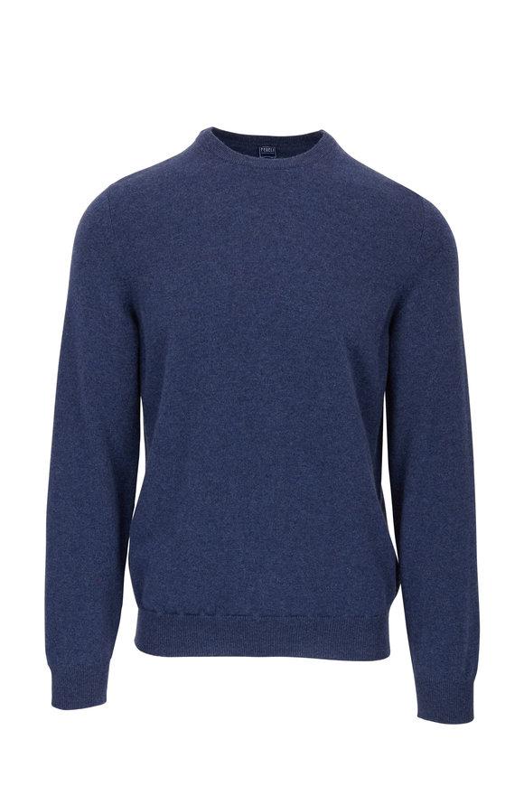 Fedeli Blue Cashmere Crewneck Pullover