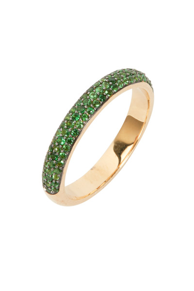 Syna - Yellow Gold Green Tsavorite Stack Band
